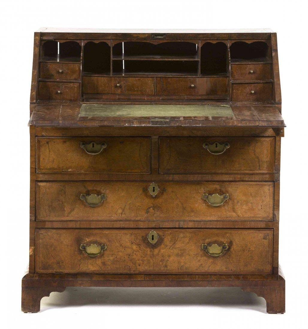 An American Queen Anne Style Walnut Slant Front Desk,