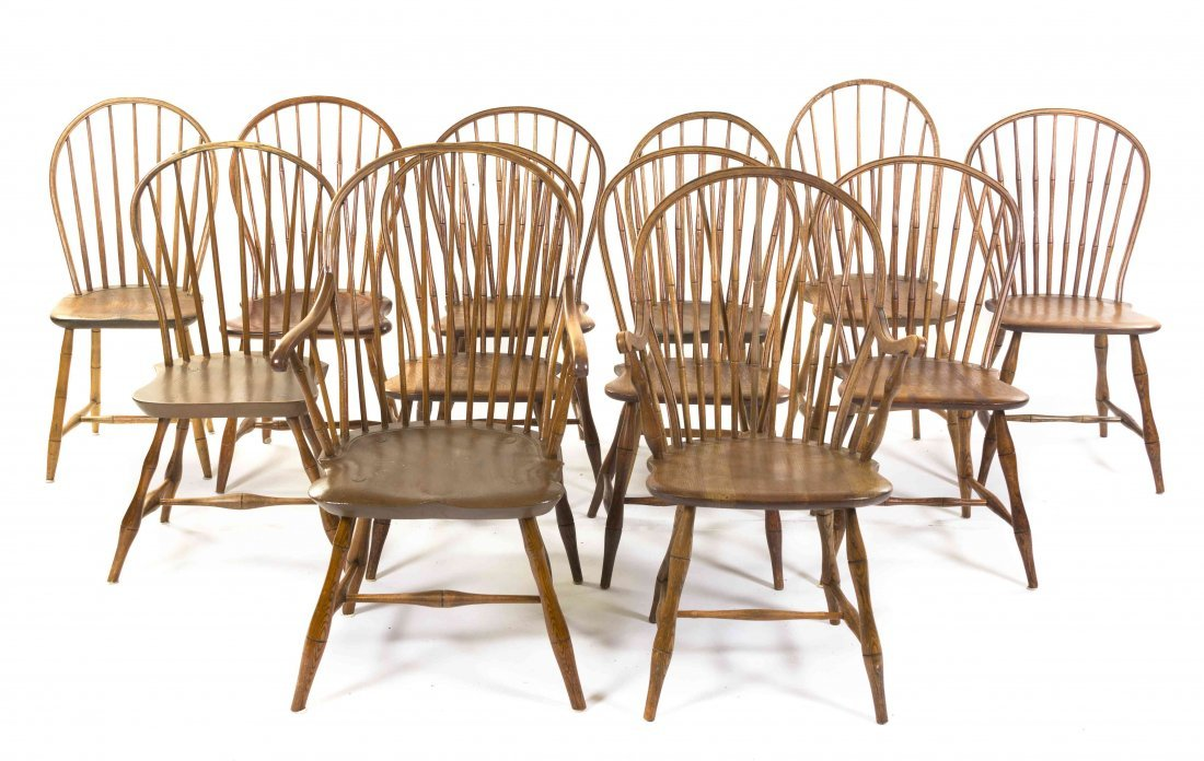 An Assembled Set of Twelve American Windsor Chairs,