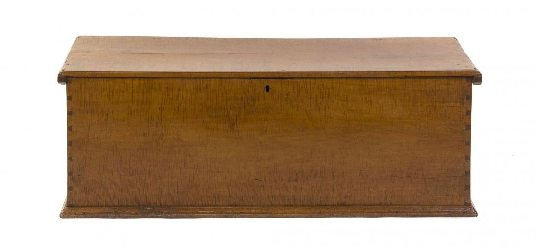 An American Tiger Maple Blanket Chest, Height 19 x