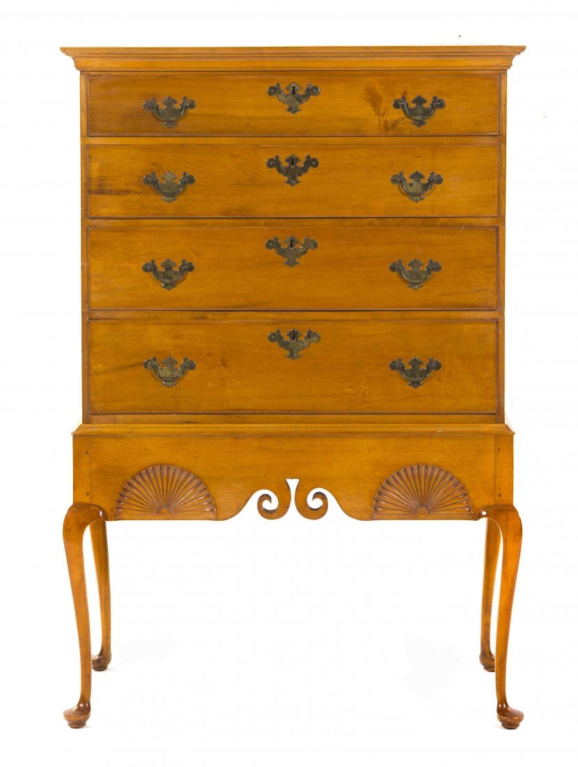 An American Maple Chest on Stand, Height 56 x width 34