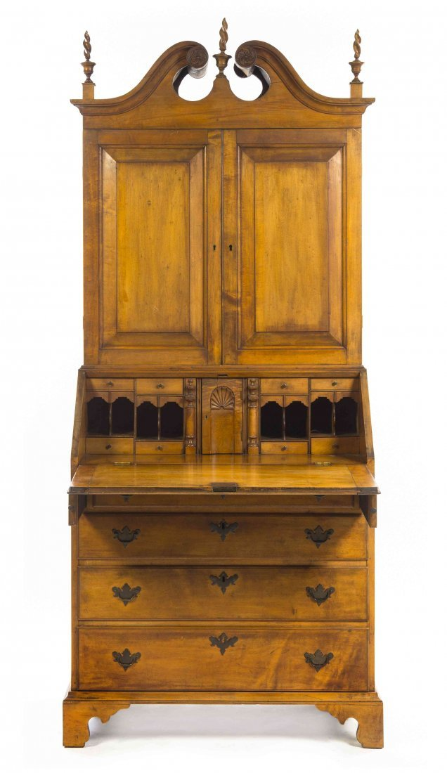 An American Maple Secretary Bookcase, Height 83 x width