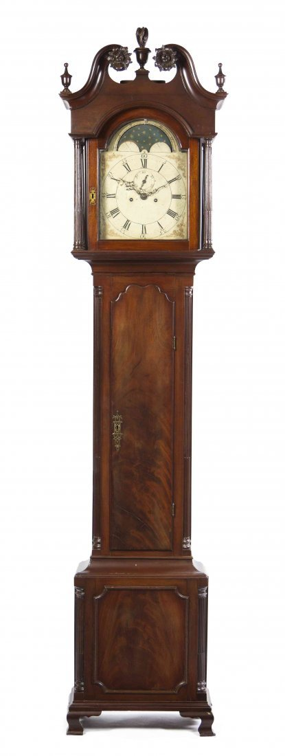 An American Mahogany Tall Case Clock, Height overall 96