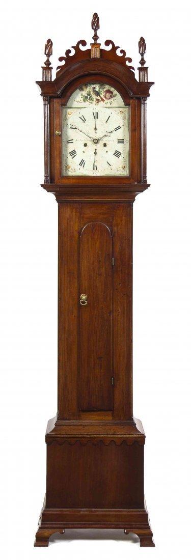 An American Various Woods Tall Case Clock, Jas