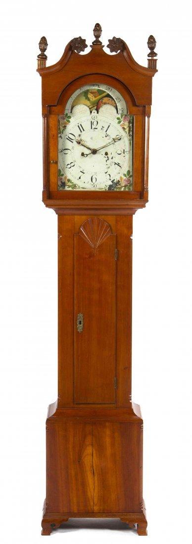 An American Federal Cherry Tall Case Clock, Height 88