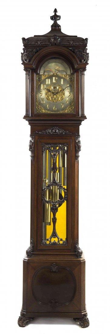A Mahogany Tall Case Clock, retailed by Bailey, Banks &