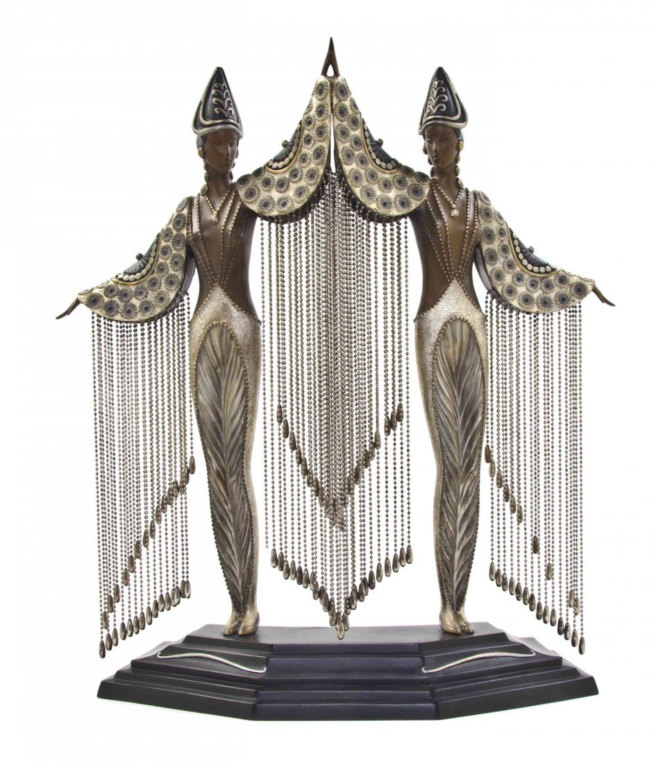A Polychrome Bronze Figural Group, Romain de Tirtoff