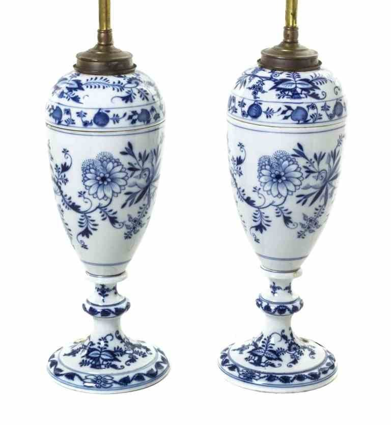 Two Meissen Porcelain Covered Urns, Height of porcelain