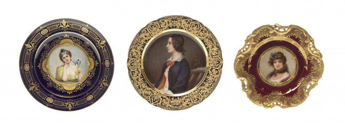 Three Royal Vienna Style Porcelain Plates, Diameter of