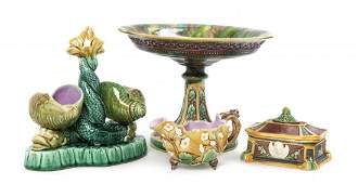 A Collection of Four English Majolica Articles Height