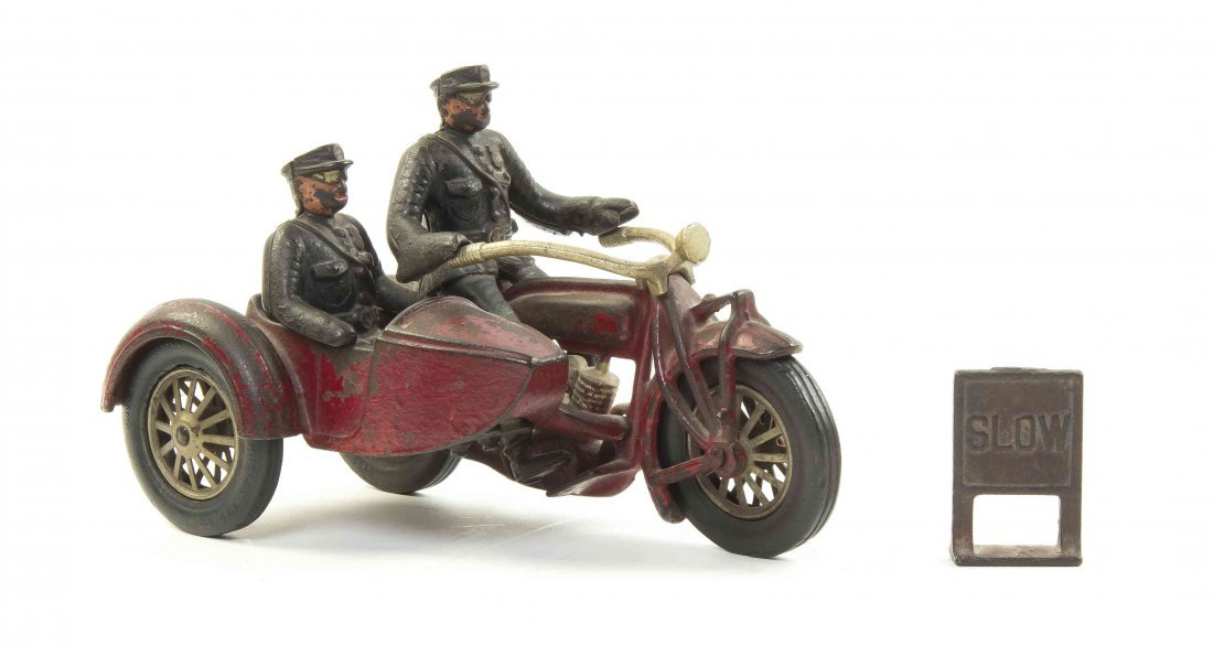 An American Cast Iron Motorcycle and Side Car, Hubley,