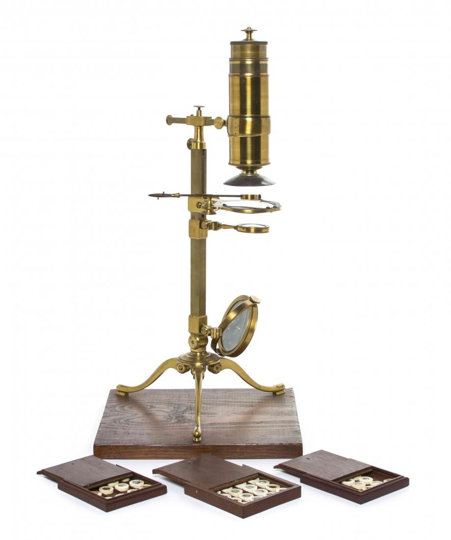 A French Brass Microscope, M.L.F. Dellebarre, Height 16