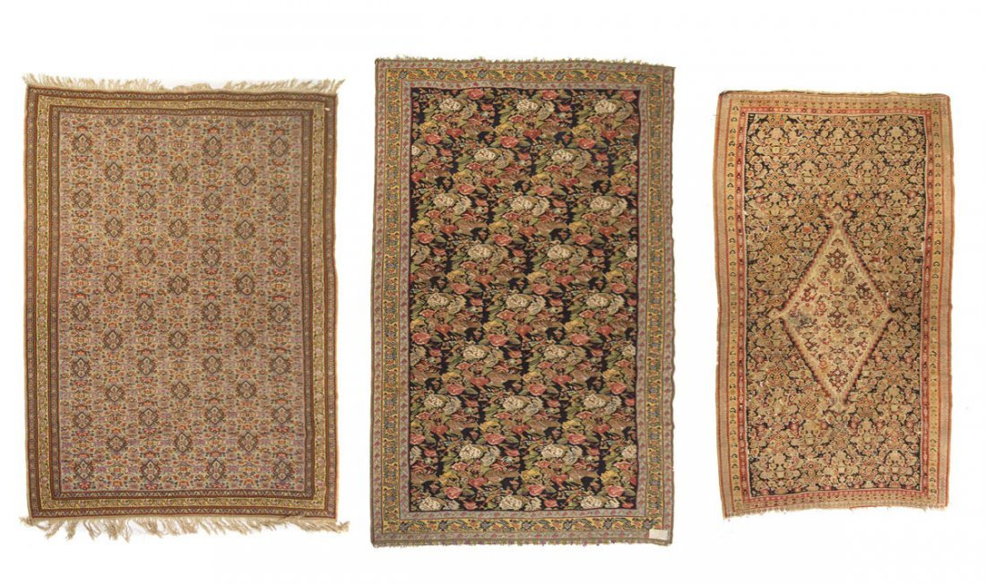 Three Persian Flatweave Wool Rugs, Largest: 6 feet 5