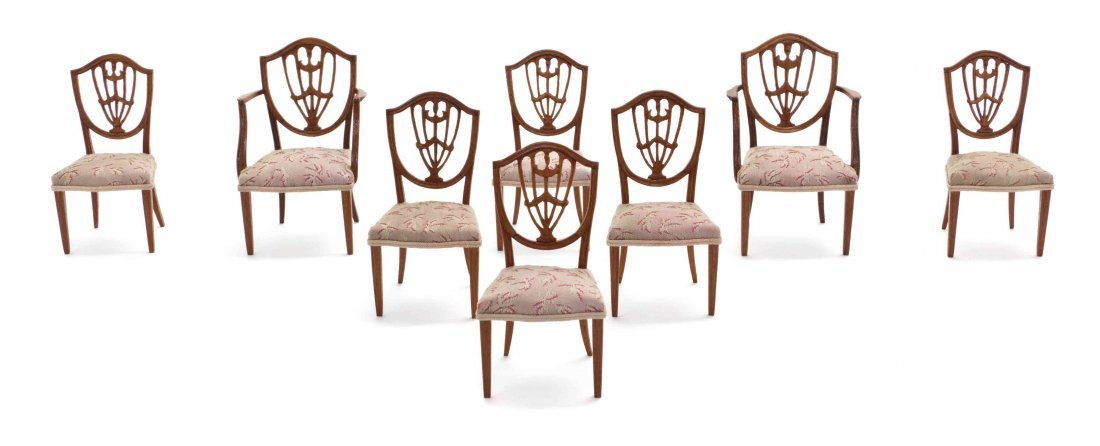 A Set of Eight Sheraton Style Mahogany Dining Chairs,