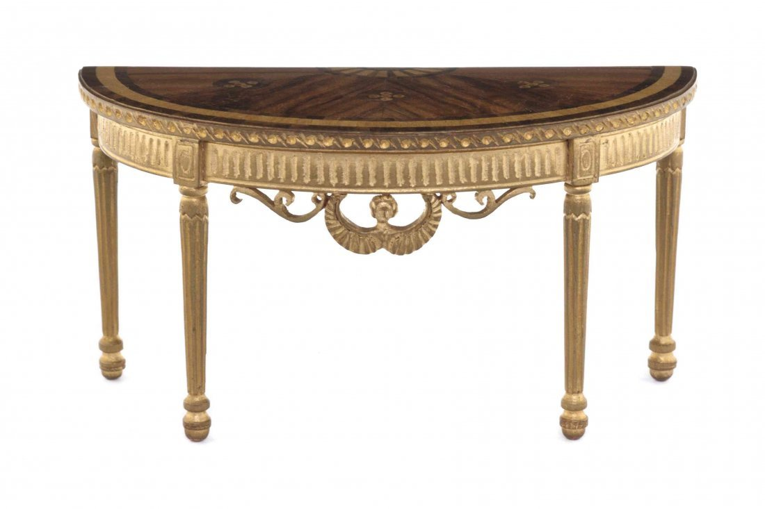 An Adam Style Parquetry and Parcel Gilt Pier Table,