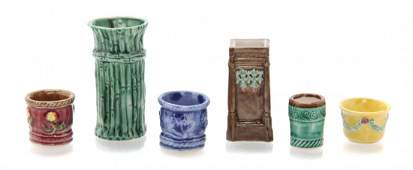 A Collection of Six Majolica Style Porcelain Articles