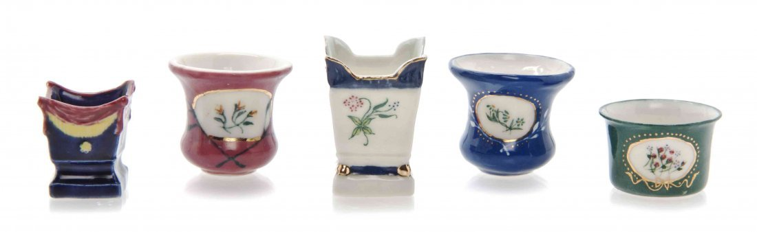 A Collection of Five Porcelain Jardinieres, Ron Benson,