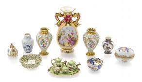 A Collection of Miniature Porcelain Articles Height of