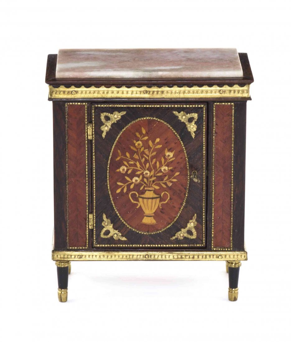 A Louis XVI Style Parquetry, Marquetry and Gilt Metal
