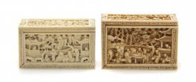 Two Chinese Carved Ivory Boxes, Width of 2 5/8 inches.