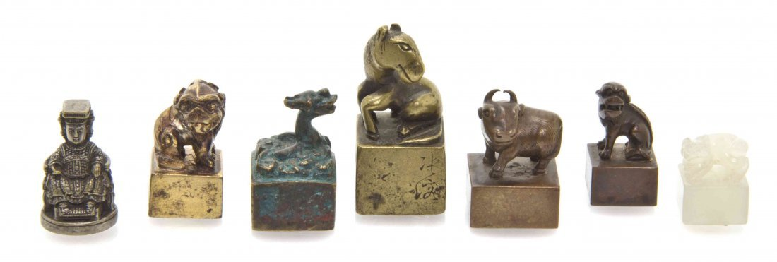 A Group of Six Chinese Scroll Weights, Height of