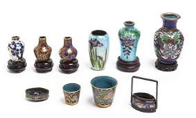 A Group of Nine Cloisonne Articles Height of tallest