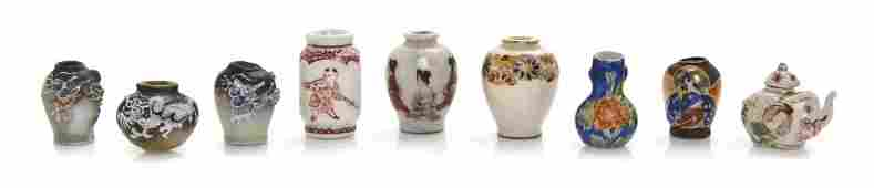 A Group of Nine Japanese Ceramic Articles Height of