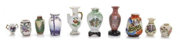 A Group of Ten Japanese Ceramic Vases Height of