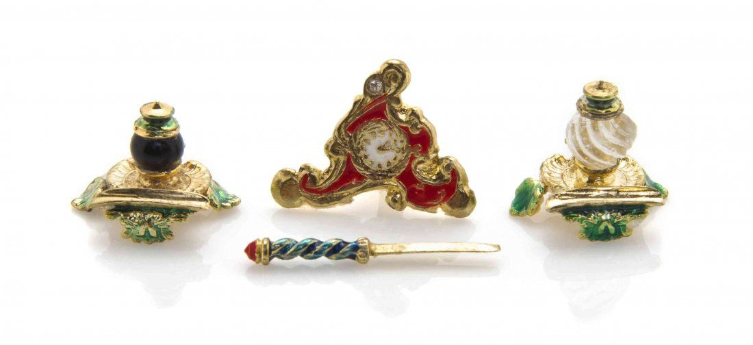 A Collection of Four Gilt Silver Enameled Desk