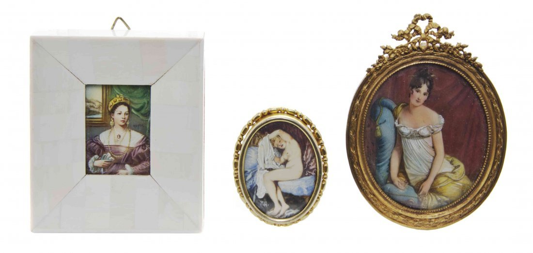 Three Framed Paintings on Ivory, Height of tallest