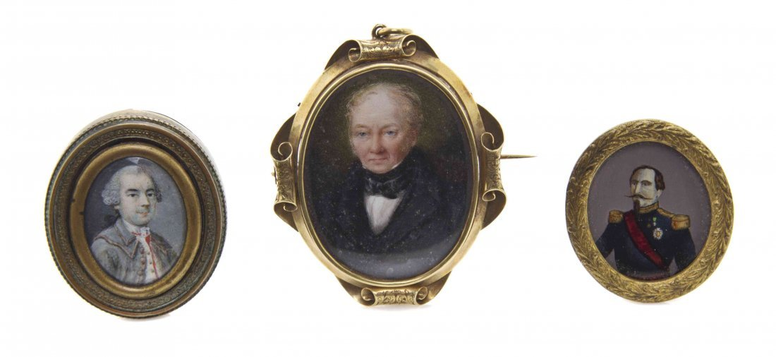 A Victorian Gold Mounted Mourning Portrait Miniature