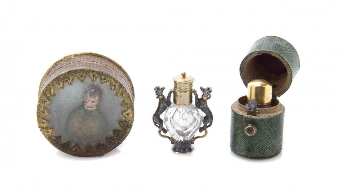 Three Antique Miniature Perfume Bottles, Height of
