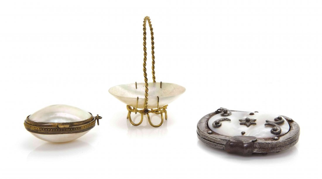 Three Victorian Diminutive Mother-of-Pearl Articles,
