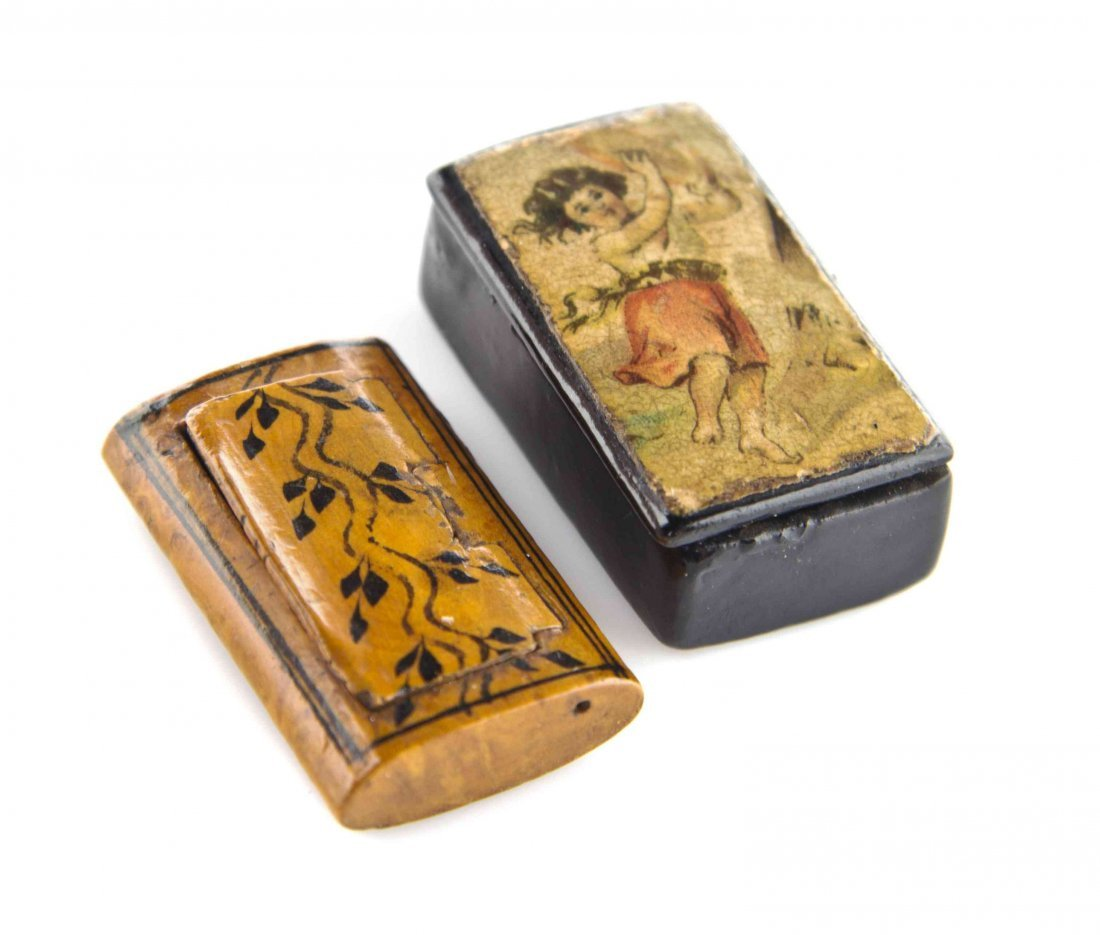 Two Antique Miniature Snuff Boxes, Length of longer 1