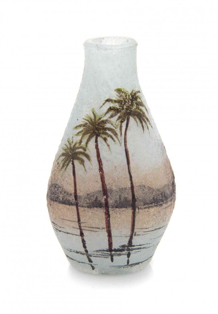 A Daum Miniature Cameo Glass Vase, Height 1 9/16