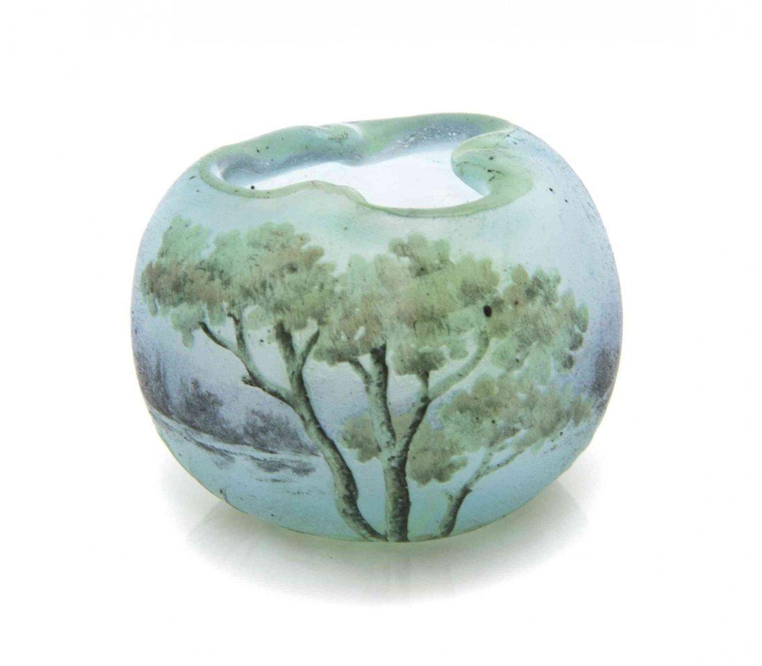 A Daum Miniature Cameo Glass Vase, Diameter 1 3/16