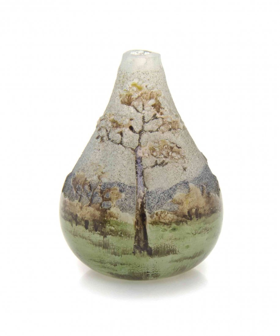 A Daum Miniature Cameo Glass Vase, Height 1 1/4 inches.