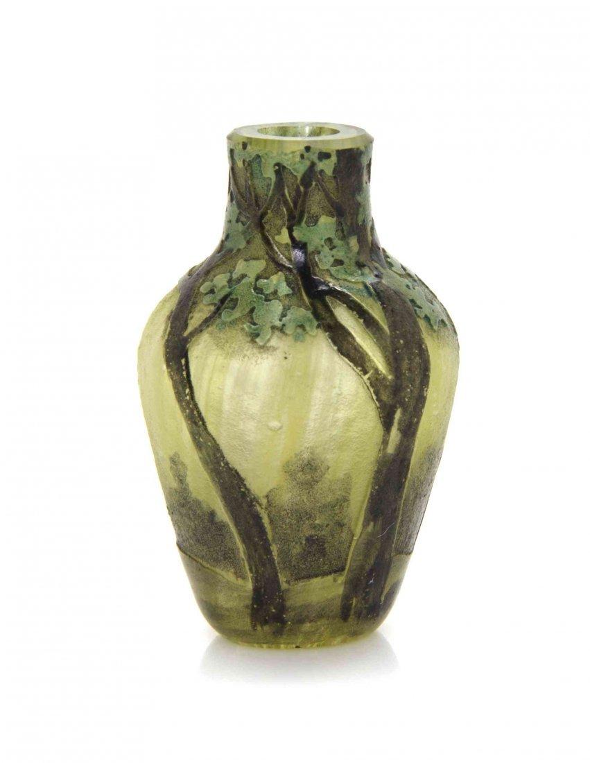 A Daum Miniature Cameo Glass Vase, Diameter 1 3/8
