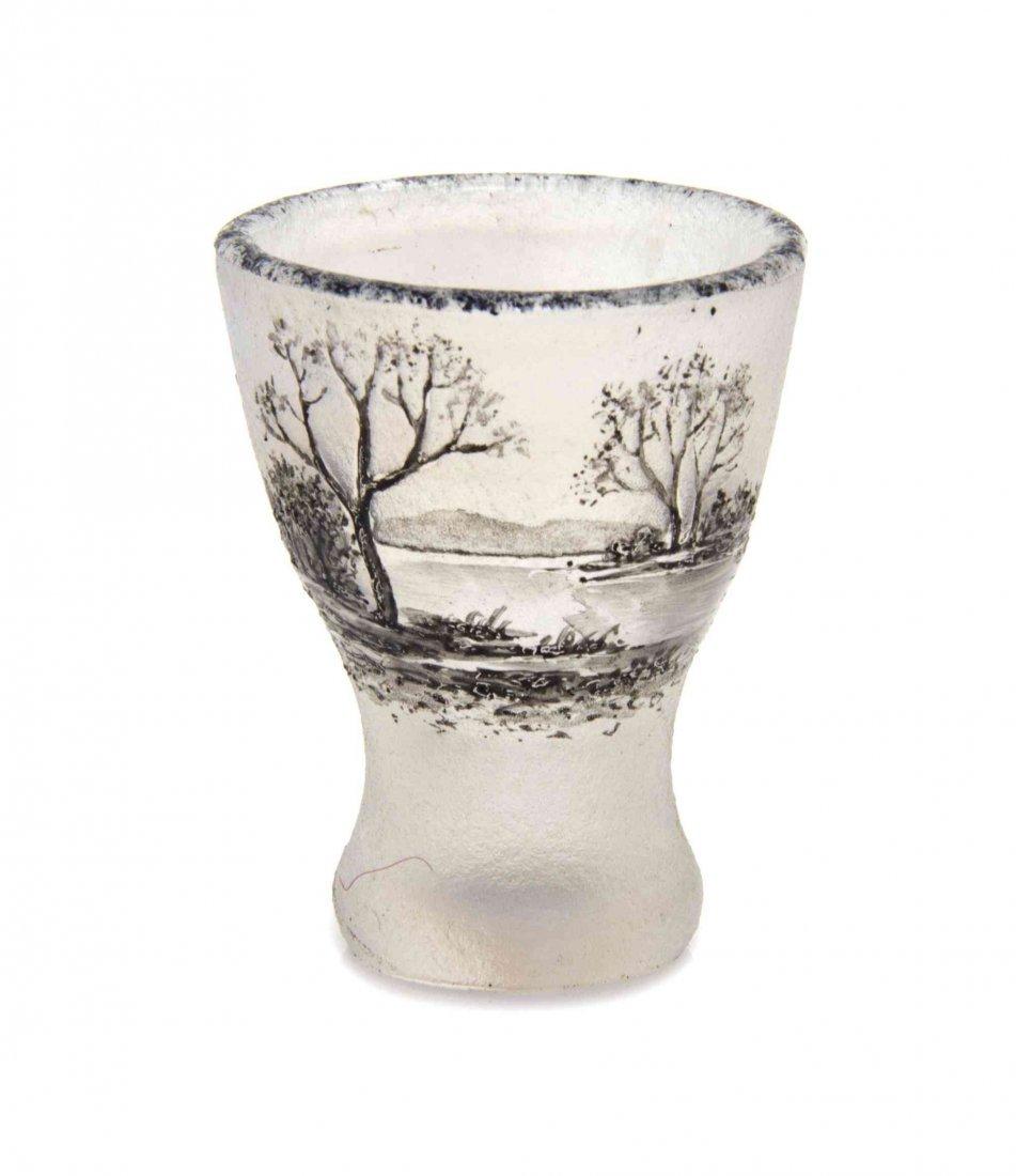 A Daum Miniature Cameo Glass Vase, Diameter 1 1/8