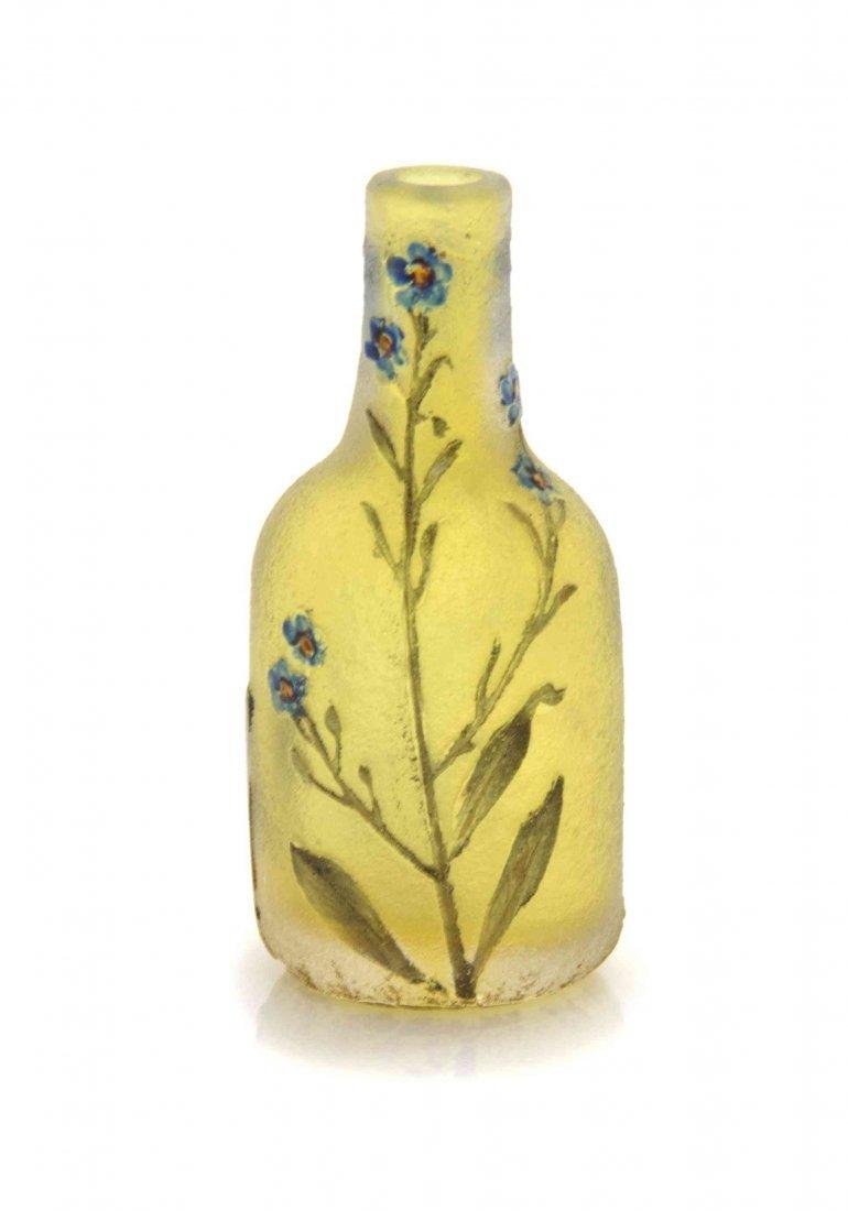A Daum Miniature Cameo Glass Vase, Height 1 5/16