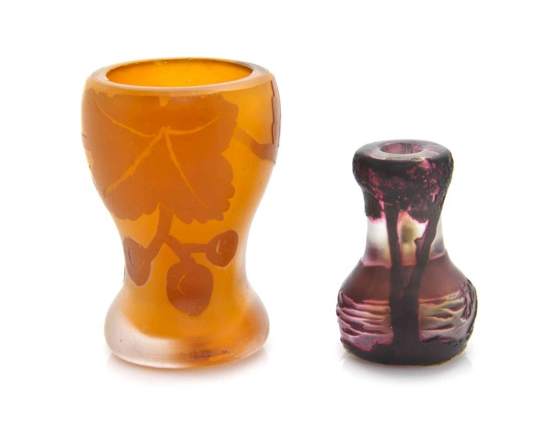 Two Miniature Cameo Glass Vases, Height of taller 1