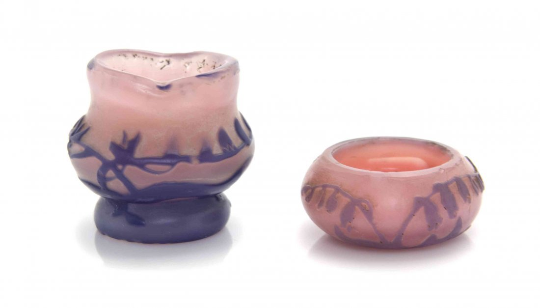 Two Devez Miniature Cameo Glass Vases, Height of taller