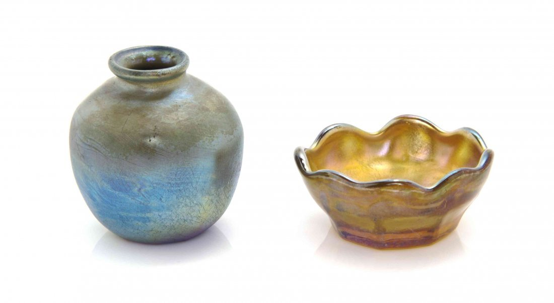 Two Tiffany Miniature Favrile Glass Articles, Height of