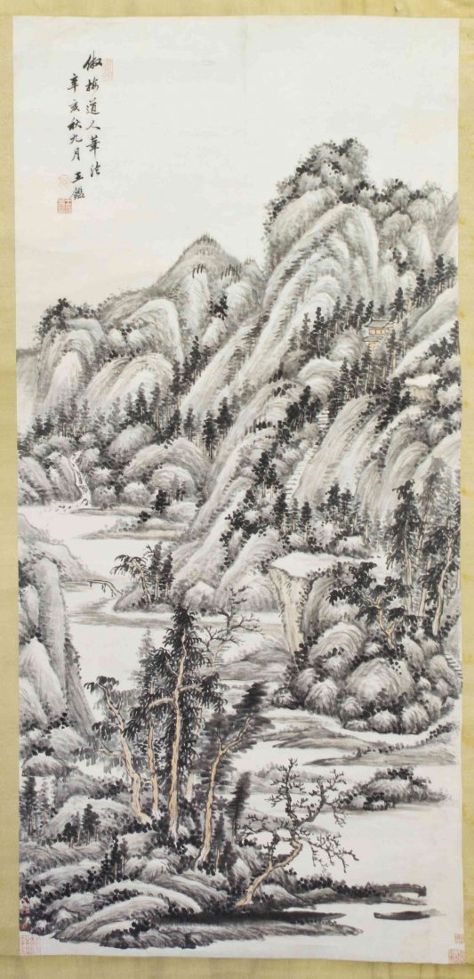 A Chinese Scroll Painting, After Wang Jian (1598-1677),