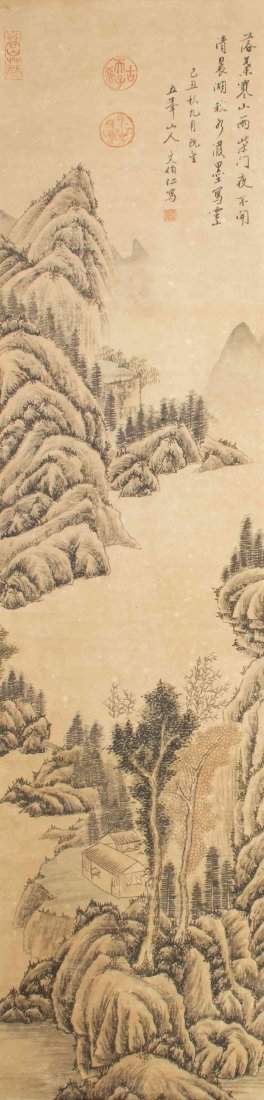 A Chinese Scroll Painting, After Wen Boren, Height 50 x