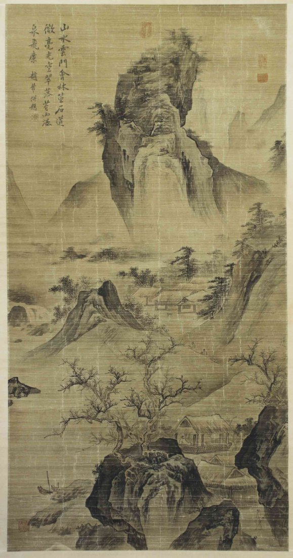 A Chinese Scroll Painting, Height 50 1/2 x width 25