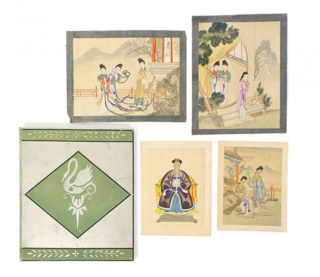 A Suite of Chinese Images on Silk, Length of Largest 13
