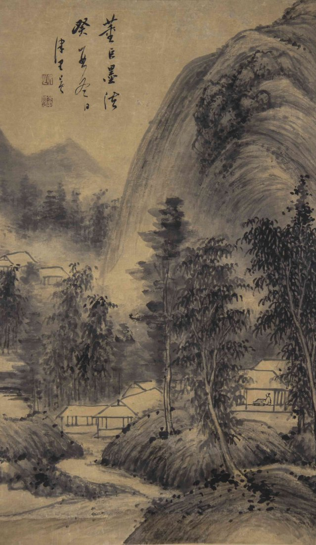 A Chinese Scroll Painting, Height 40 1/2 x width 14
