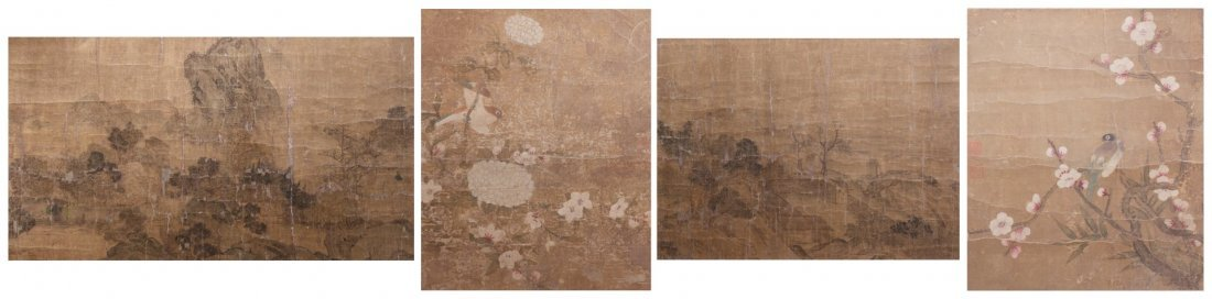A Group of Four Chinese Paintings, Height of larger 10