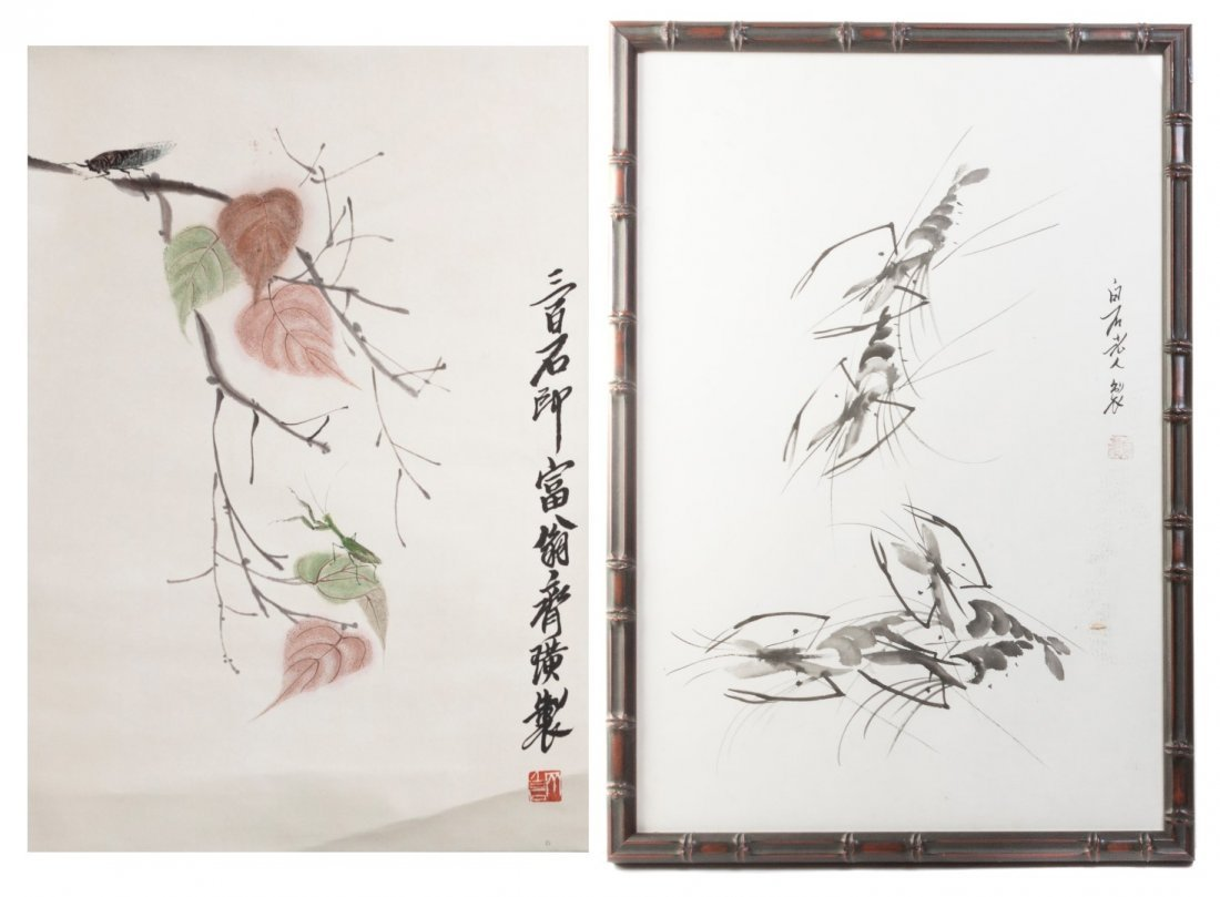 Two Chinese Paintings, After Qi Baishi, Height of