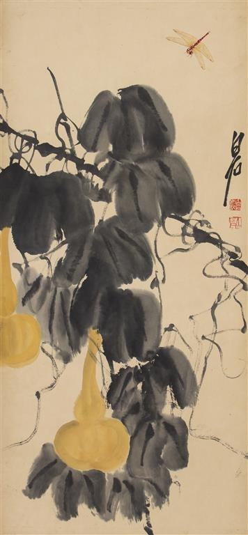 A Chinese Scroll Painting, After Qi Baishi, Height 33 1